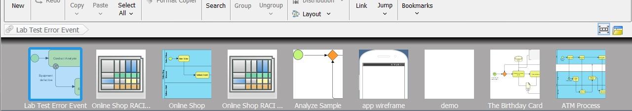 schakelen tussen diagrammen met de quick access bar