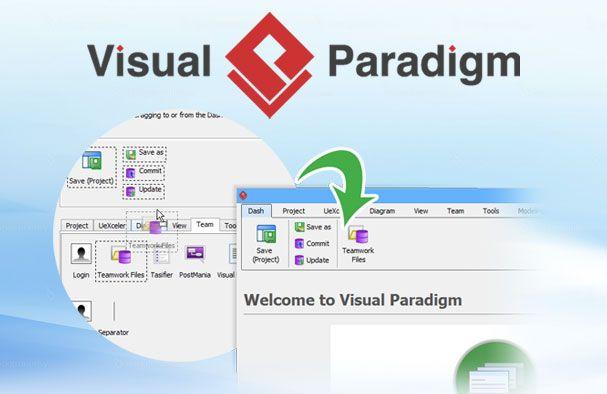 Visual Paradigm 13.1 met gepersonaliseerd menu